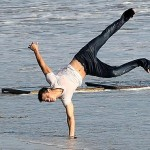 Taylor Lautner flips out on a photo shoot