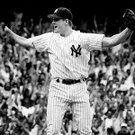 Yankees Jim Abbott after pitching no hitter. 9/4/93