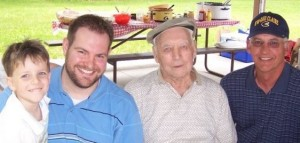 Sam, me, grandpa and my dad, Father's Day 2008